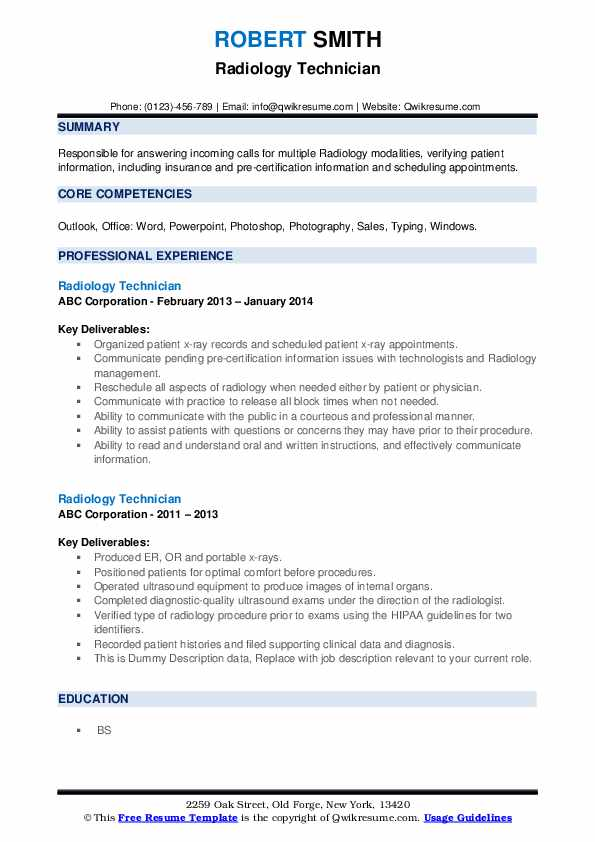 Radiology Technician Resume example