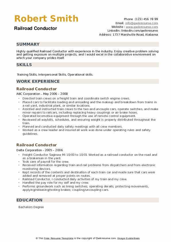 Railroad Conductor Resume example
