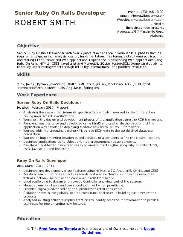 Senior Ruby On Rails Developer Resume Example
