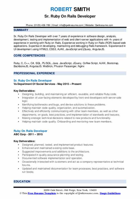 Sr. Ruby On Rails Developer Resume Sample