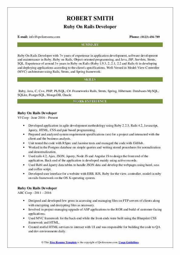 Ruby On Rails Developer Resume Model