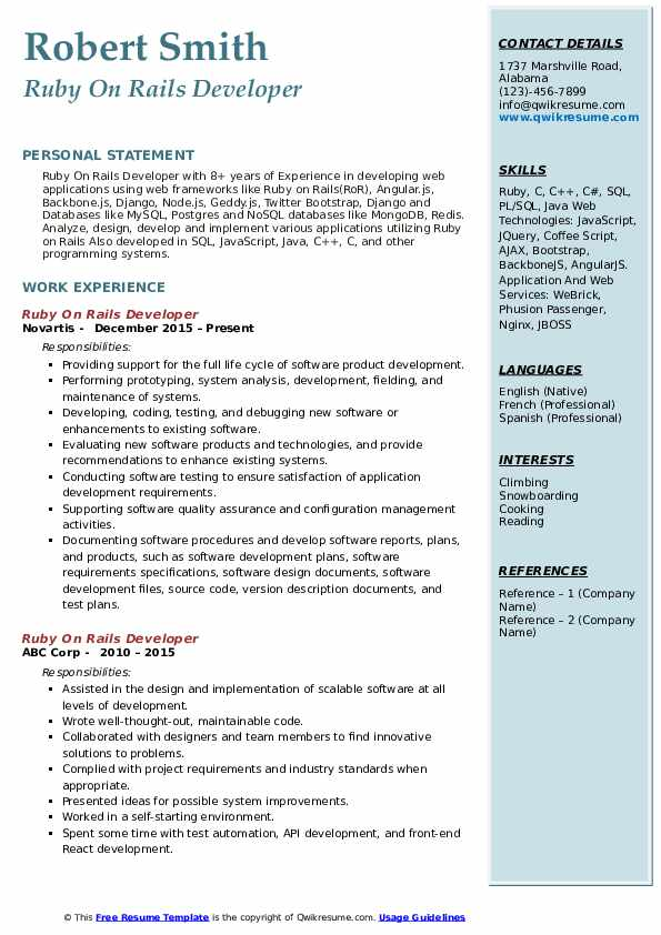 Ruby On Rails Developer Resume Sample