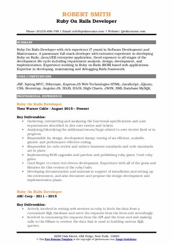 Ruby On Rails Developer Resume Format