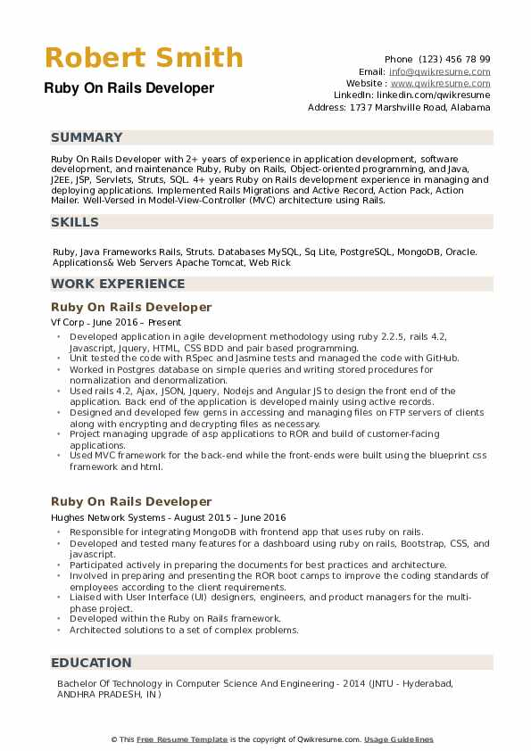Rails Developer Resume example