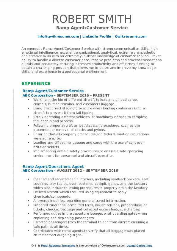 Ramp Agent/Customer Service Resume Format