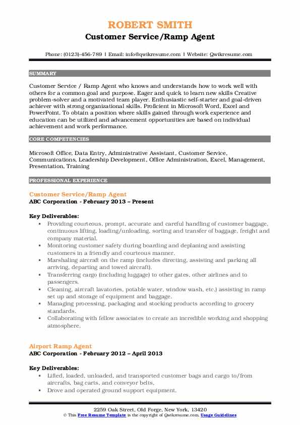 Ramp Agent Resume Samples Qwikresume