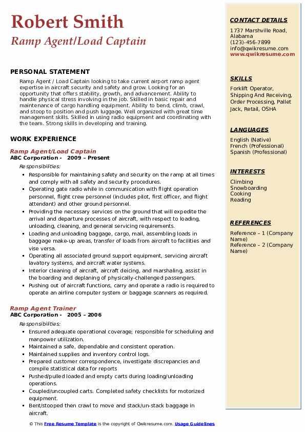 Ramp Agent/Load Captain Resume Format