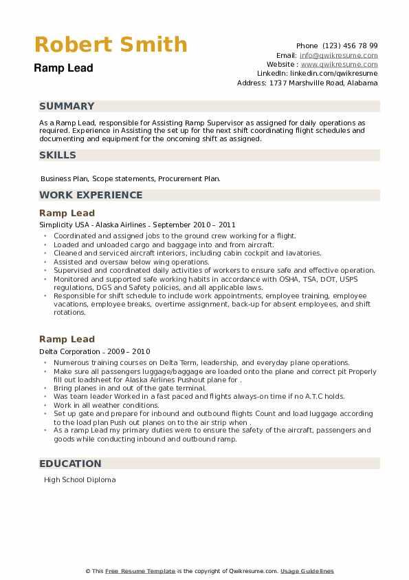 Ramp Lead Resume example