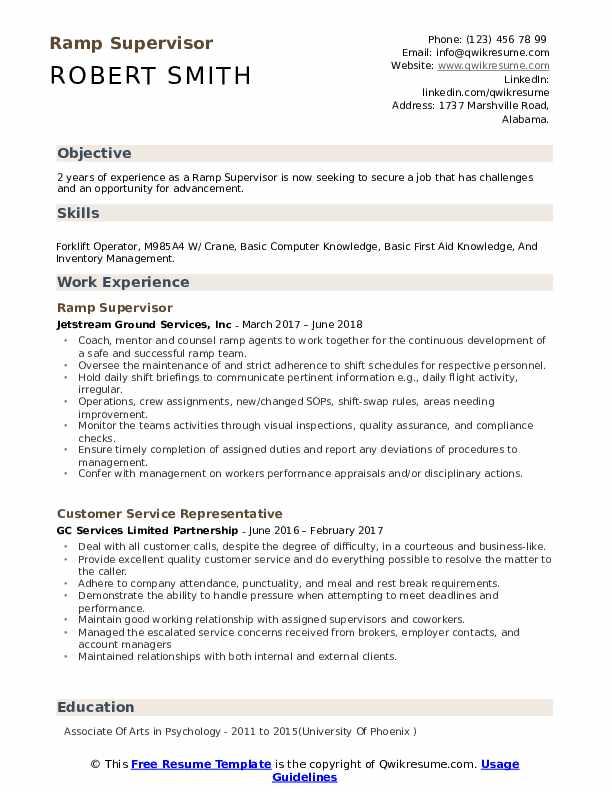 Ramp Supervisor Resume Samples | QwikResume