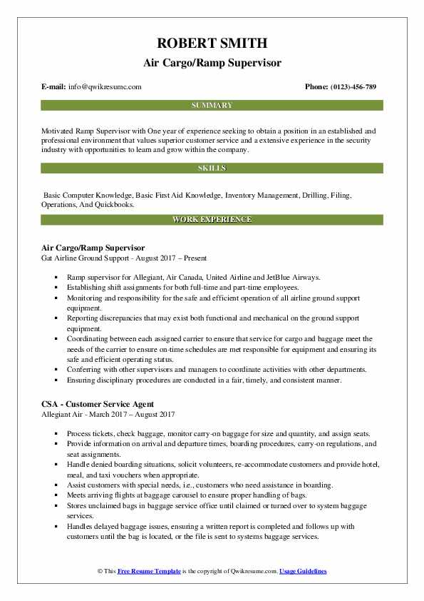 Air Cargo/Ramp Supervisor Resume Example