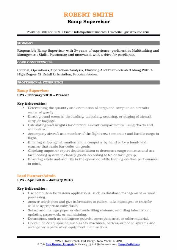 Ramp Supervisor Resume Model
