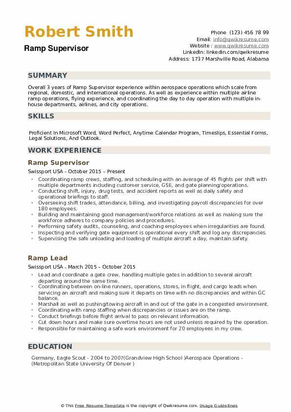 ramp supervisor resume samples
