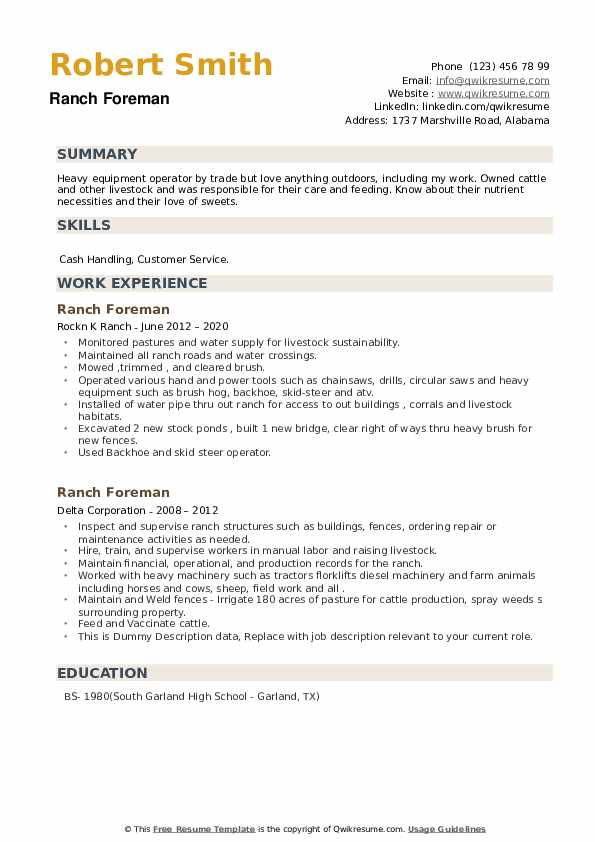 Ranch Foreman Resume example