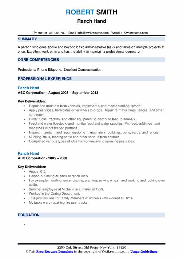 Ranch Hand Resume example