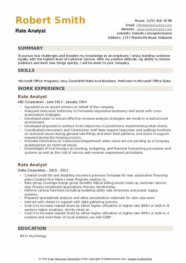 Rate Analyst Resume example