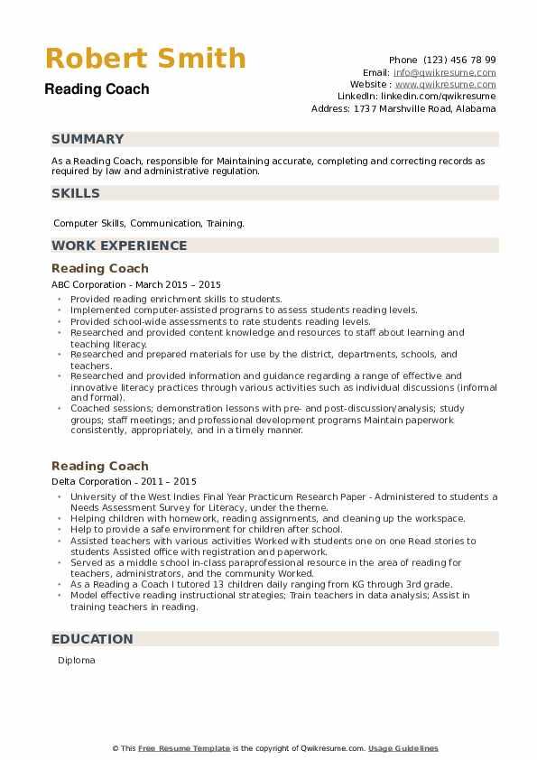 Reading Coach Resume example