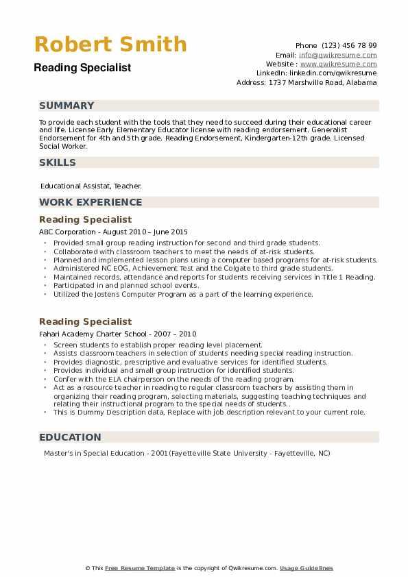 Reading Specialist Resume example
