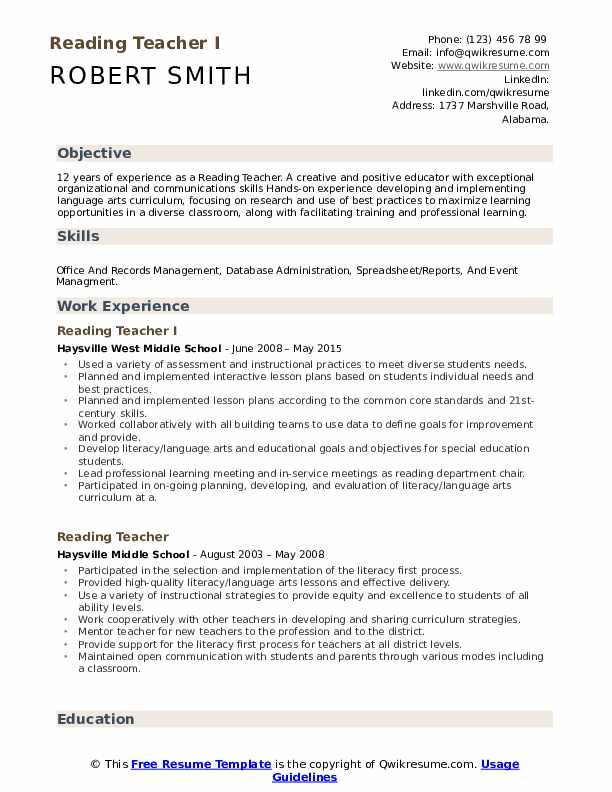 Reading Teacher I Resume Template