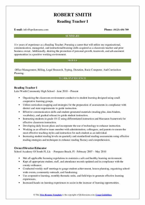 Reading Teacher I Resume Sample