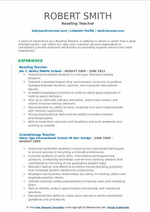 Reading Teacher Resume Template