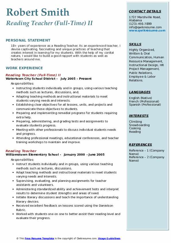 Reading Teacher (Full-Time) II Resume Model