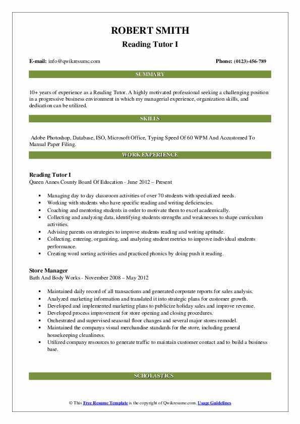 Reading Tutor I Resume Format