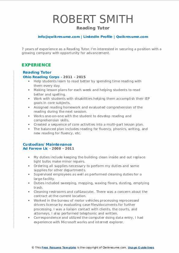 Reading Tutor Resume Format
