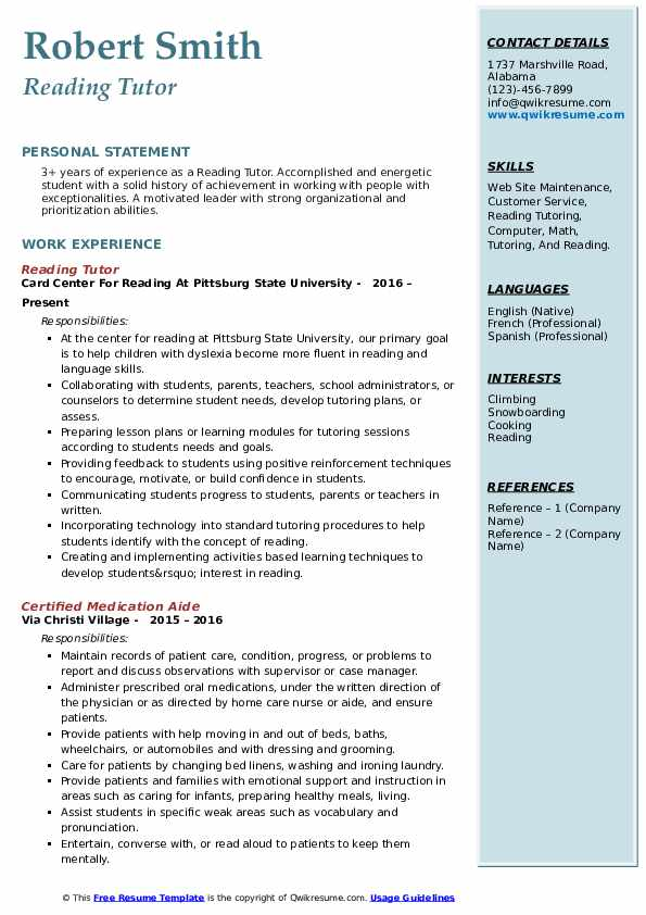 reading tutor resume samples