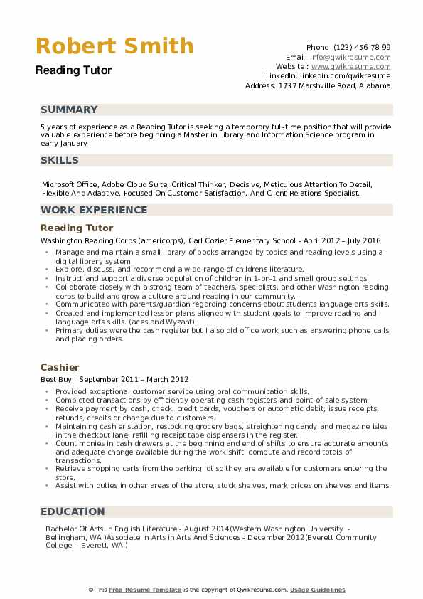 Reading Tutor Resume Samples Qwikresume