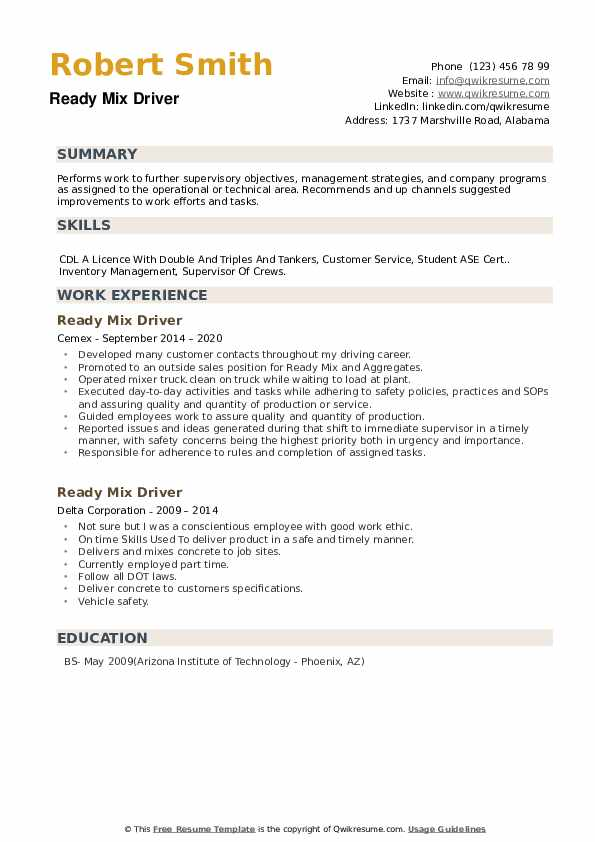 Ready Mix Driver Resume example