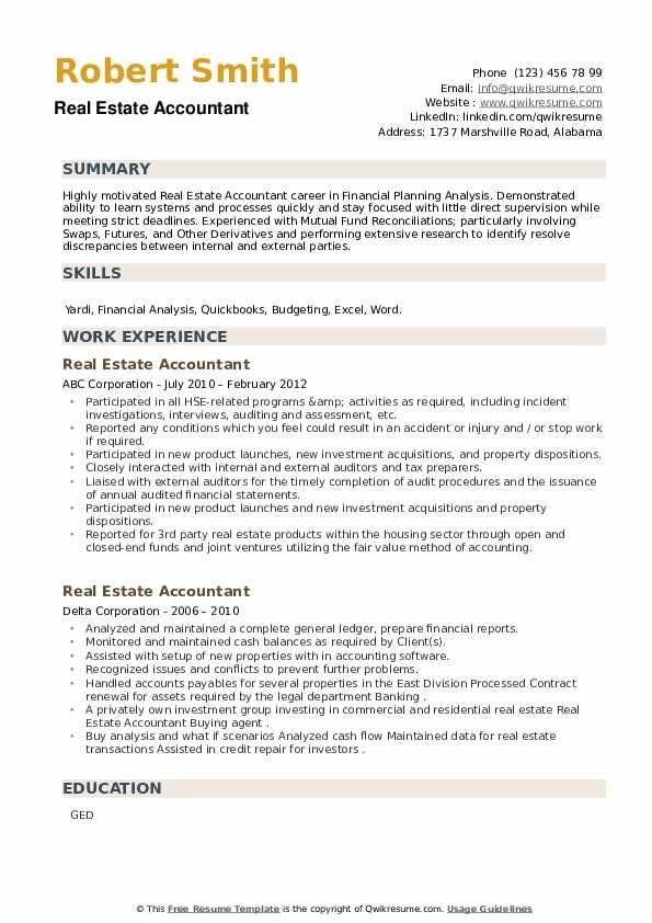 Real Estate Accountant Resume example