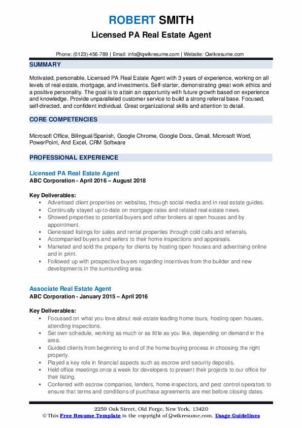 Real Estate Agent Resume Samples Qwikresume