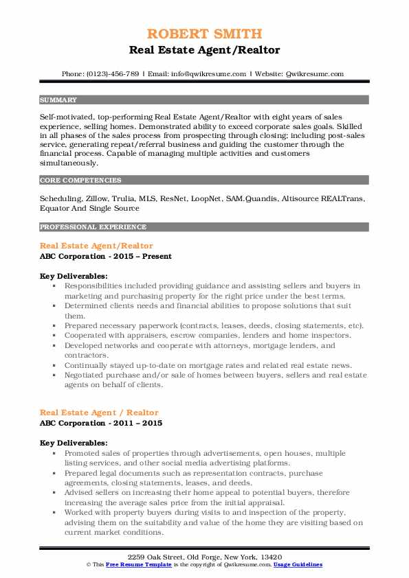 real estate agent resume samples  qwikresume