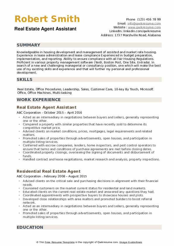 Real Estate Agent Resume Samples | QwikResume