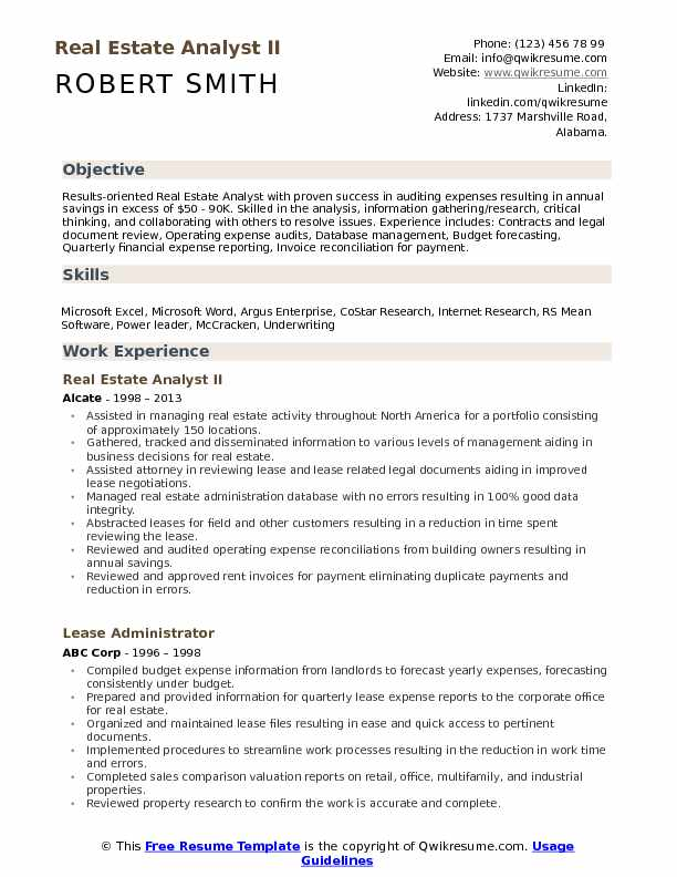 Real Estate Analyst II Resume Example