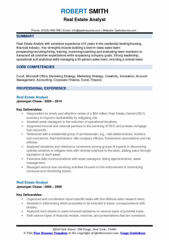 Real Estate Analyst Resume Format