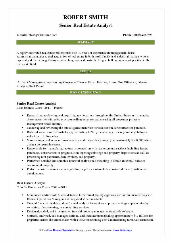 real estate analyst resume samples