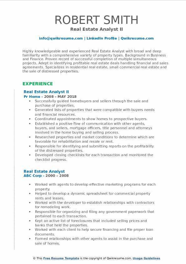 Real Estate Analyst Resume Samples | QwikResume