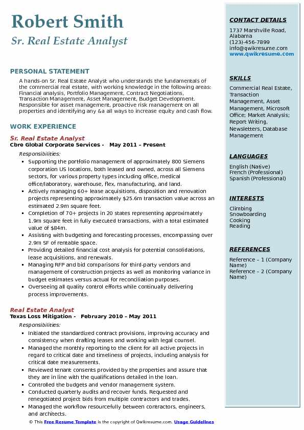 Sr. Real Estate Analyst Resume Template