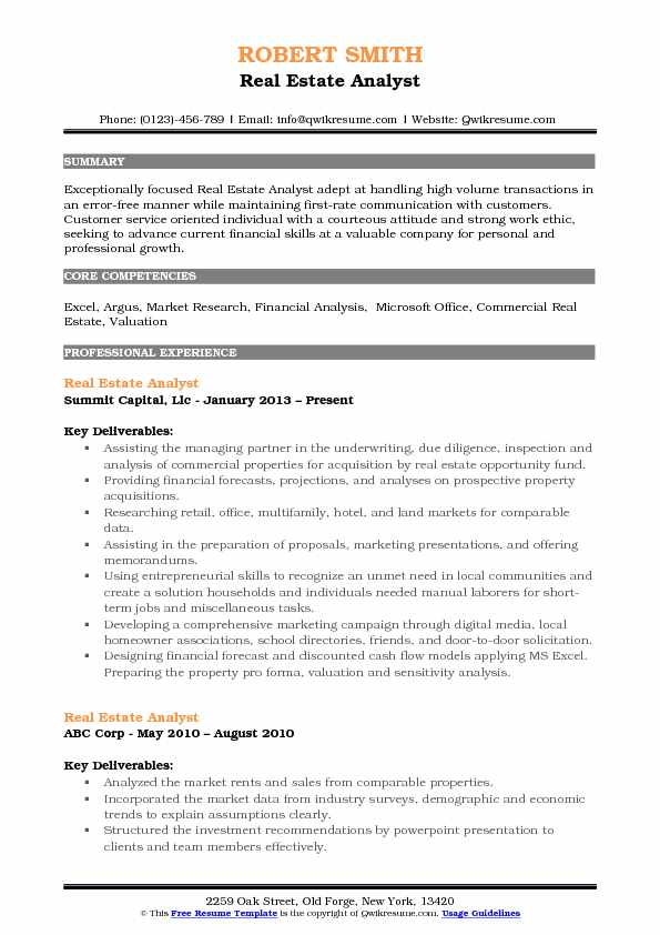 Real Estate Analyst Resume Model