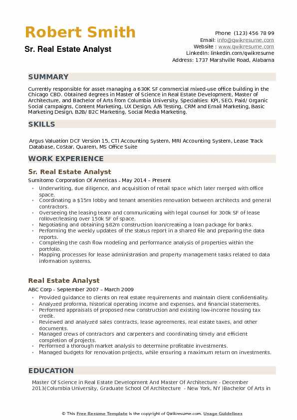 Real Estate Analyst Resume example