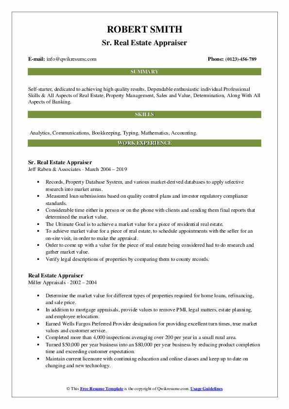 Real Estate Appraiser Resume Samples | QwikResume