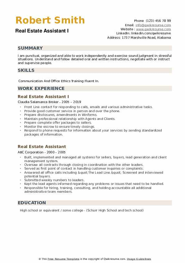 real estate assistant resume samples