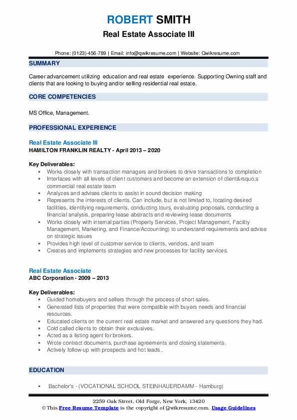 Real Estate Associate Resume example