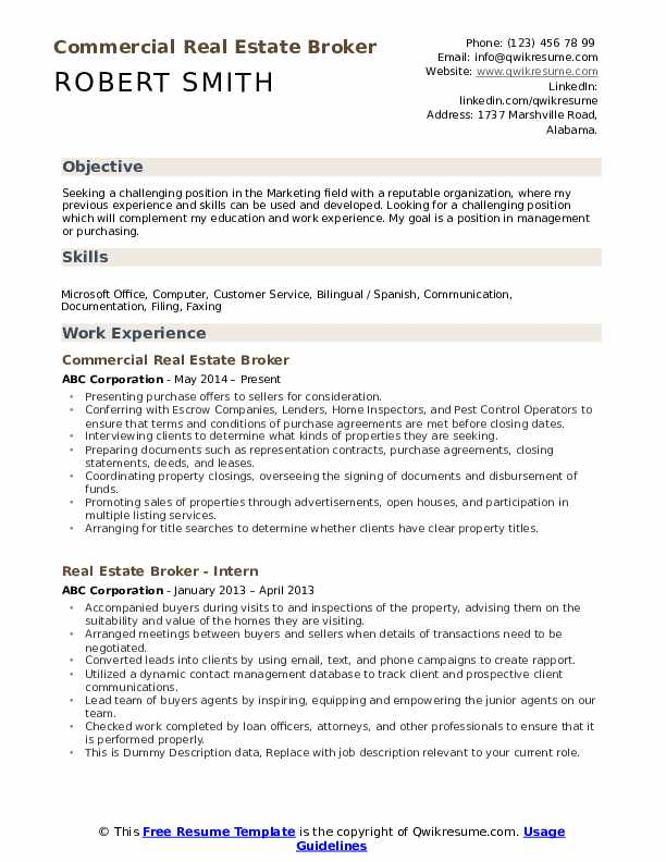 real estate broker resume pdf