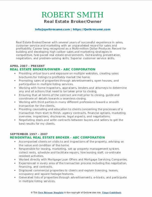 real estate broker resume samples