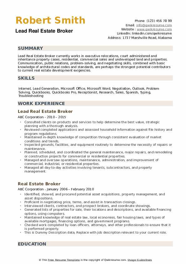 real estate broker resume samples