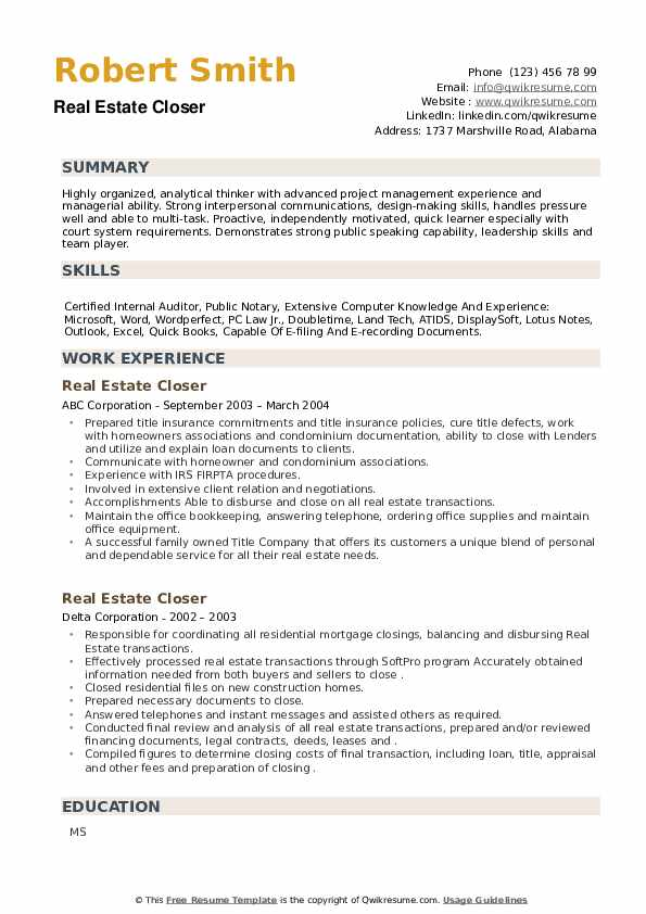 Real Estate Closer Resume example
