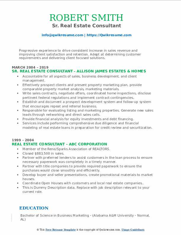 real estate consultant resume samples