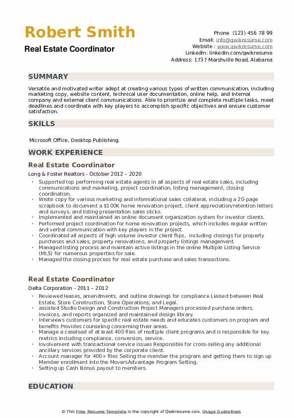 Real Estate Coordinator Resume example